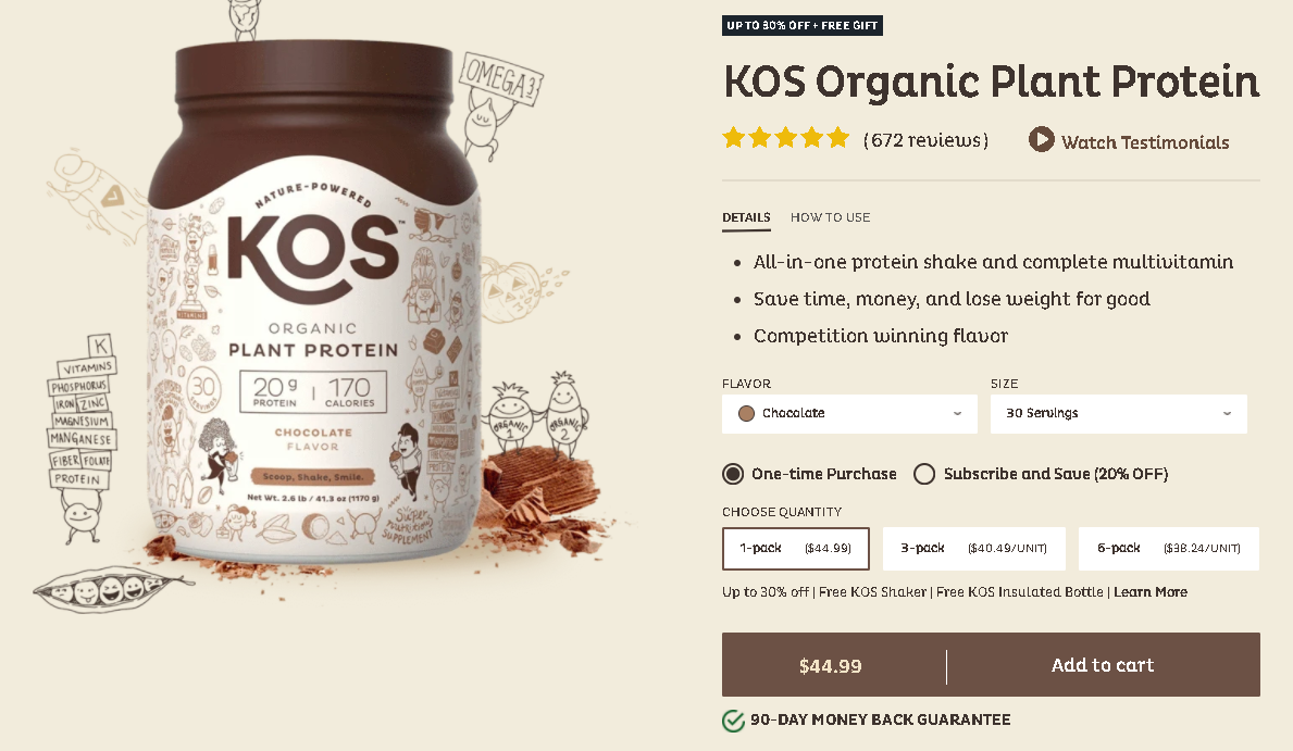 Kos Protein pricing