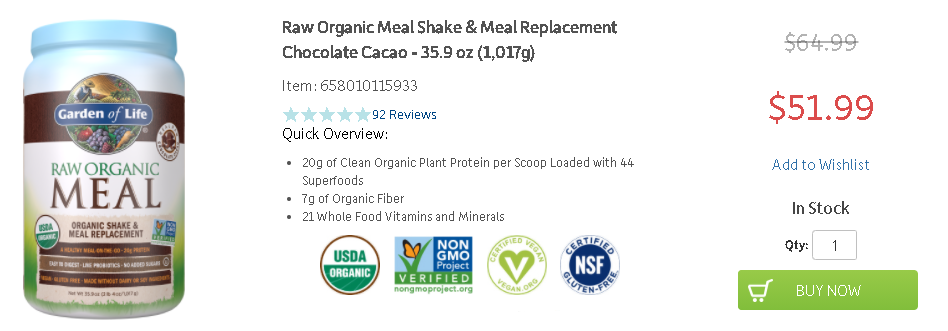 Garden of Life Raw Organic Meal pricing