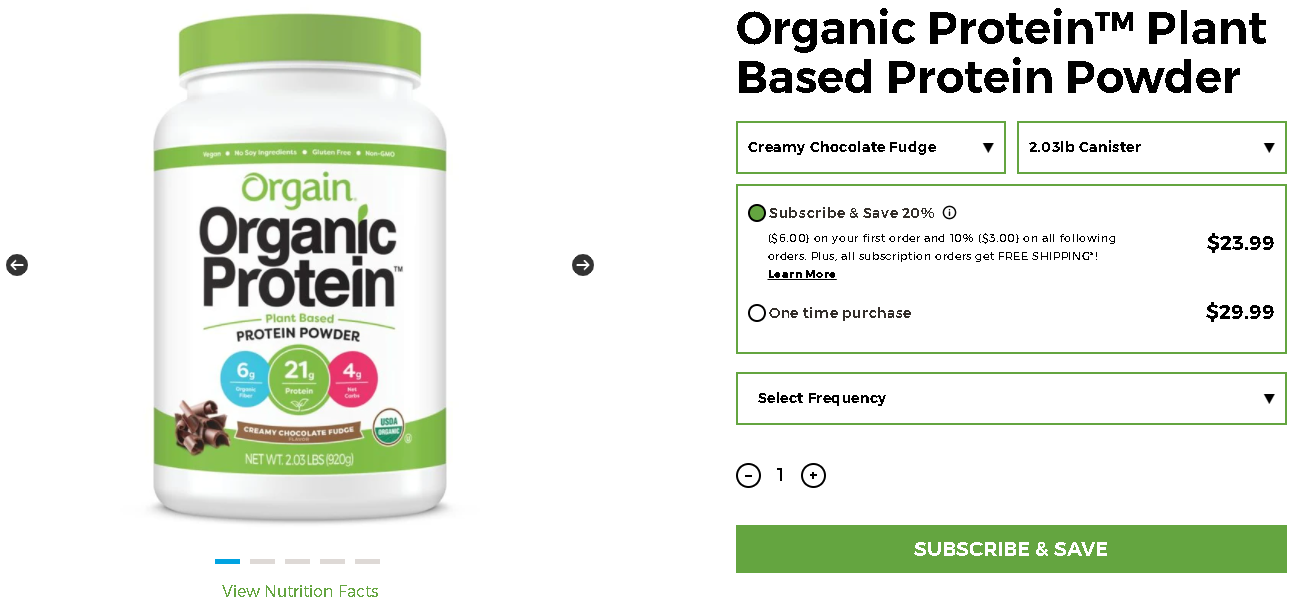 Orgain, Organic Protein pricing