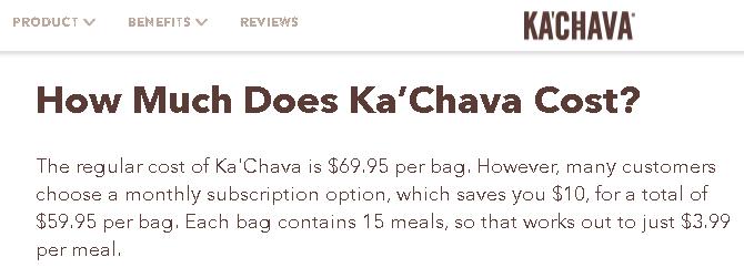 Kachava pricing