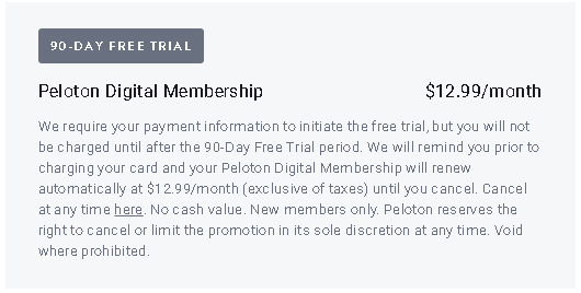 Peloton Monthly Membership Pricing