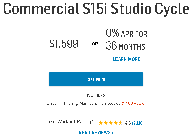 the NordicTrack S15i pricing