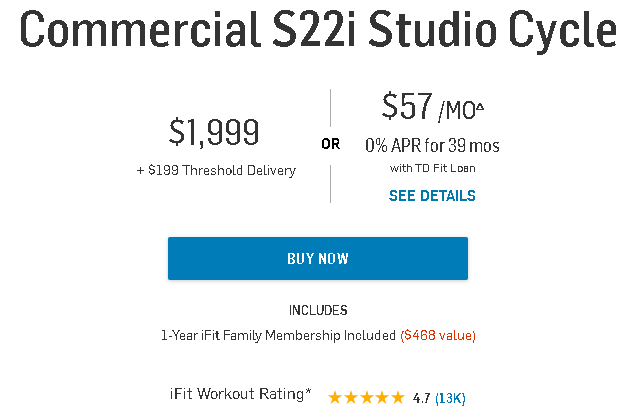 NordicTrack s22i with iFit Pricing