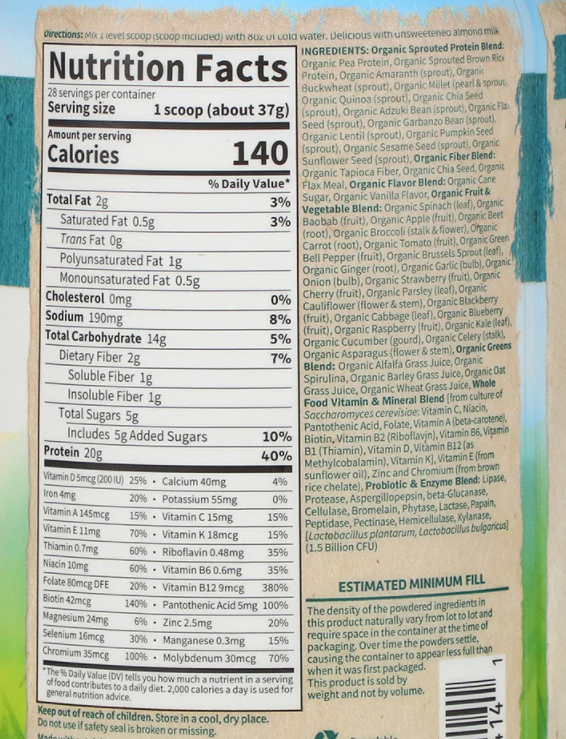 Garden of Life Raw Organic Meal Nutrition Facts