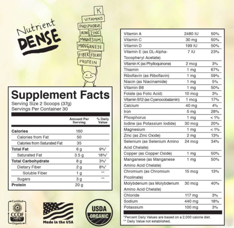 KOS Nutrition Facts