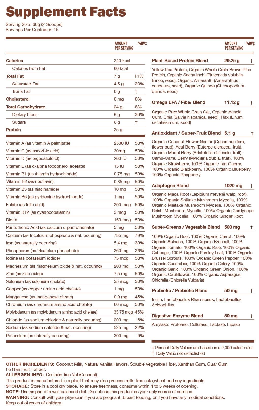 Kachava Nutrition Facts
