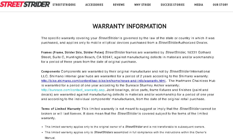 StreetStrider warranty
