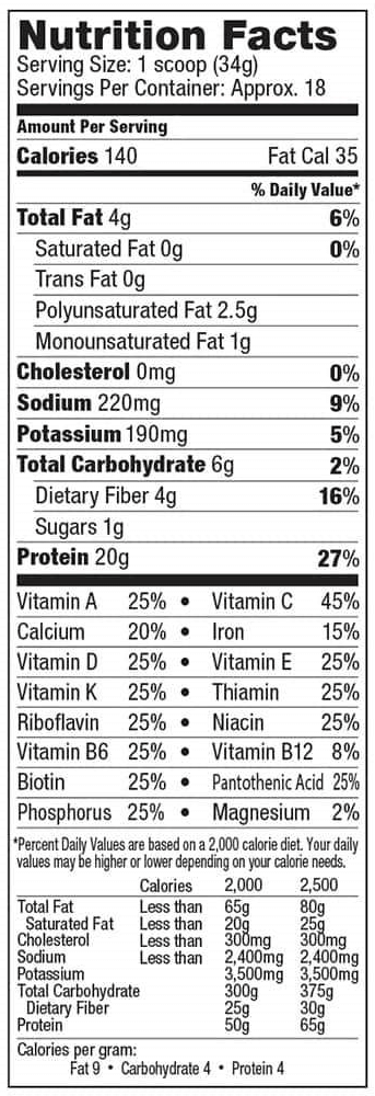Vega Nutrition Facts