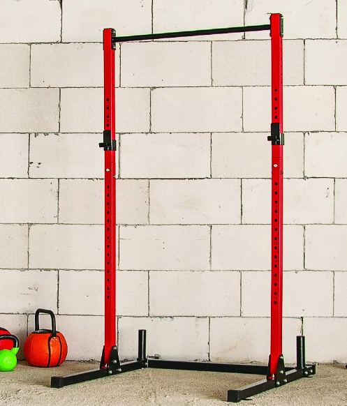 Cheapest squat rack with accepted quality would go to the HulkFit Multi-Function basic red colored option