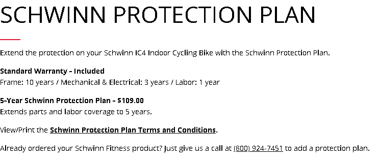 Schwinn IC4 Warranty
