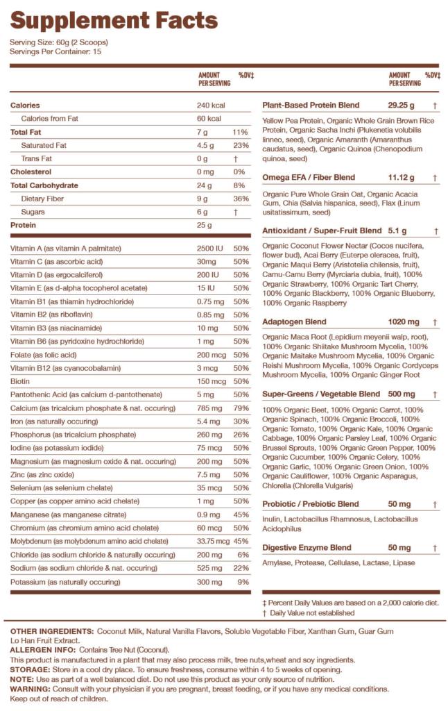 Ka'chava Nutrition Facts