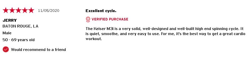 Keiser M3i Customer Review