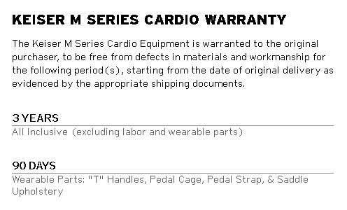Keiser M3i Warranty
