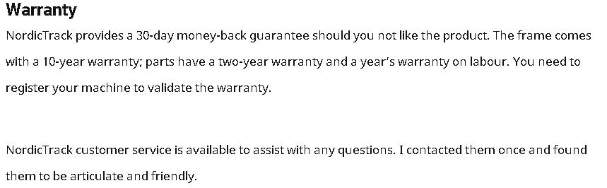 Nordictrack RW200 warranty