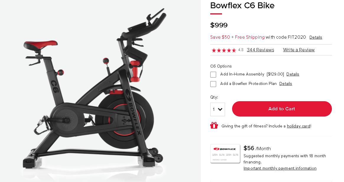 Comparing pricing on the Bowflex C6 vs the Schwinn IC4
