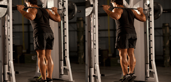 Standing Calf Raises with Smith Machine is one of Alternatives to Seated Calf Raises