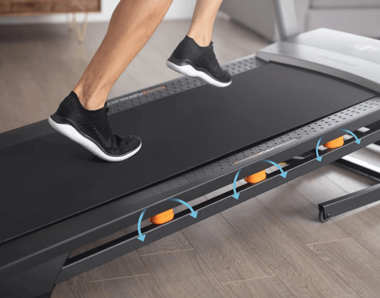 NordicTrack uses adjustable cushioning so that you can make your treadmill as soft or hard as you want