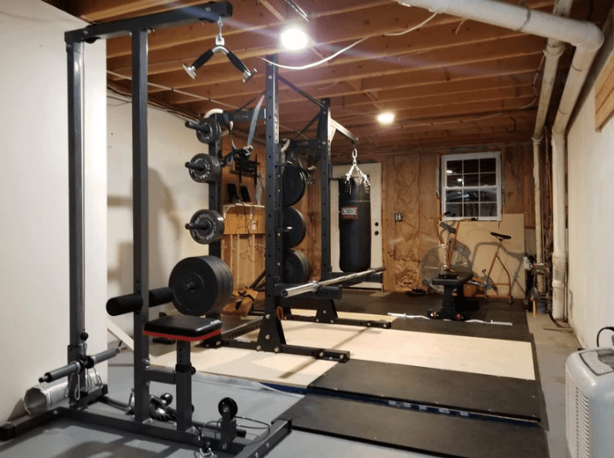 Evenly distributed lights are great for a small gym