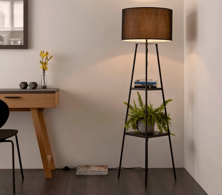 A floor lamp helps illuminates those far corners that are hard to reach
