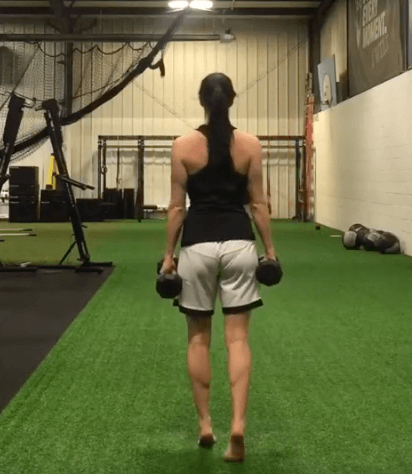 How to do the farmers walk on toes with dumbbells