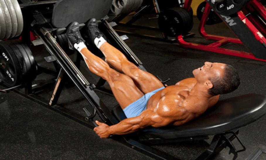 Leg press machine calf raise exercise