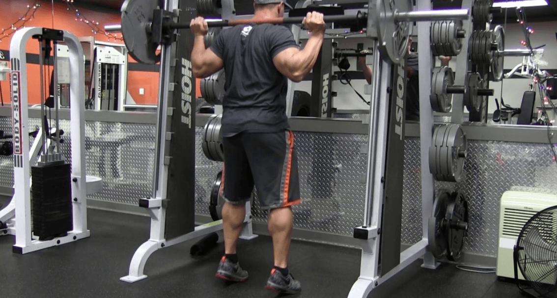 Smith rack calf raise exercise