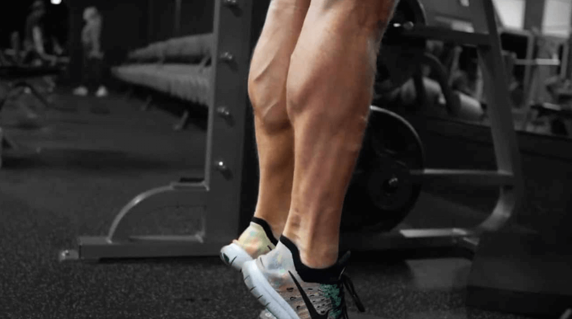 Stretched calf muscles